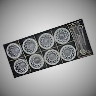 Set 8 Val St Lambert VSL Crystal Open Salt Cellars and Spoons Boxed Labels - 20th Century, Belgium