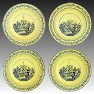 Set 4 Large Mottahedeh Yellow Black Large Transferware Plates Neoclassical Style - 20th Century, Italy