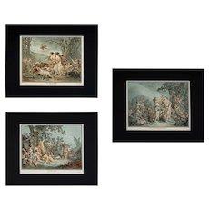 18th Century French Aquatint Etchings Demarteau d'apres Huet, Seasons, Spring, Summer, Winter ( set of 3 ) - circa 1785, France