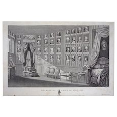 18th C. Heart of Voltaire Room / Chambre du Cour du Voltaire Copper Engraving by Nee after Duche - circa 1781, France