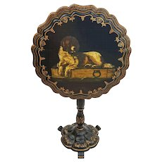 Papier Mache Newfoundland  Dog Decor Tilt-top Tea Table Victorian English Antique - c. 19th Century, England