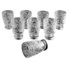 Set 8 Bohemian Shot Glasses Etched Crystal - 20th Century, Czechoeslovaquia