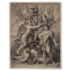 18th Century Engraving Constantin Victory Trophy Nicolas Tardieu after Rubens - 18th Century, France