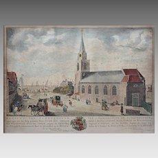 North Sea Scheveningen 18th Century Dutch Perspective Engraving / Optical Print  - circa 1759, The Netherlands