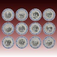 12 Creil et Montereau Les Sports Collection Transferware Plates Faience Set - Pre 1920's, France