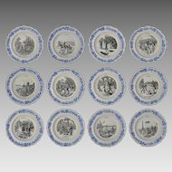 12 Creil et Montereau Les Sports Collection Transferware Plates Faience Set - Pre 1920's, France