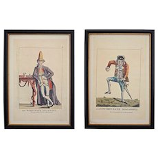 Pair Macaroni Satirical Caricature Prints The Fortunate and Unfortunate Maccaroni Framed after Darly - Red Tag Sale Item