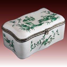 Veuve Perrin Faience Chinoiserie Snuff Box Silver Mount - 18th Century, Marseille, France