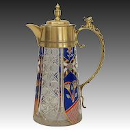 Heraldic Jug Pitcher Figural Eagle Painted Enamel Cut Crystal Bronze Mount - 19th Century, Austria