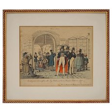 Schoeller Vienna Scene Satirical Copper Engraving Theatre Scene No 24 Andreas Geiger sc  - circa 1839, Austria