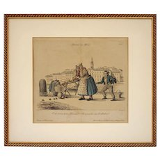Vienna Scene Satirical Copper Engraving N°1 An earthquake Schoeller del Geiger sc - circa 1839, Austria