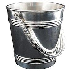 Christofle Art Deco Style Ice Bucket Barware Silverplate Handled Signed - 20th Century, France