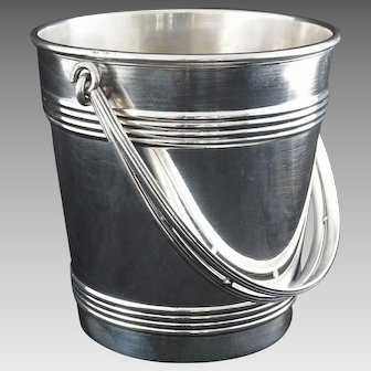 Christofle Art Deco Style Ice Bucket Barware Silverplate Handled Signed - 20th Century, France