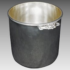 French Silversmith Puiforcat Modern Champagne Wine Cooler Ice Bucket Barware Silverplate Handled Signed - 20th Century, France
