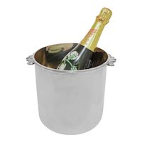 Champagne Bucket French Luxury Puiforcat Wine Cooler Barware Silver Plated Handled Signed - 20th Century, France