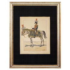Napoleonic Signed JOB 1st Empire Military Lithograph Drummer Grenadiers Horseback Full Dress - circa 1920, France - Red Tag Sale Item