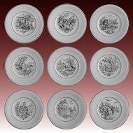 9 Digoin Months / Les Mois Sarreguemines France Collection Black Transferware Plates Faience Set