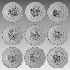 9 Digoin Months / Les Mois Sarreguemines France Collection Black Transferware Plates Faience Set