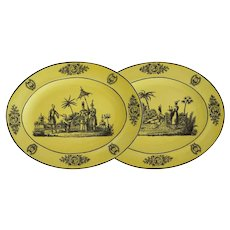 Pair Oval Chinoiserie Creil Style Mottahedeh Transferware Plates Yellow Black - 20th Century, Italy
