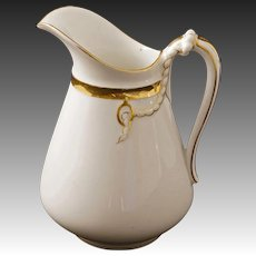 Haviland Limoges 16 Fl. Oz. Porcelain Pitcher white Gilt H&Co. English Registration Mark - 1891 to 1932, France