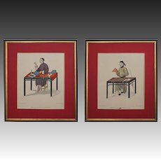 Pair Pu-Qua Canton The Costume of China Trade Engravings, Dadley, Miller - London