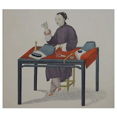 """""""Woman Making Stockings"""" Pu-Qua Canton The Costume of China Engraving, Dadley, Miller - London"""