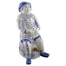 Delftware Faience Cistern Bobbejak Fontaine de Table Jacquot Pot Blue White Jug Seated Man