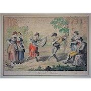 Early 1815 Antique Roman Engraving Saltarello Romano / Folk Dance Signed Bartolomeo Pinelli - c. 1815, Rome