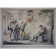 Early 1815 Antique Roman Engraving La Serenata - Costumi di Roma / The Serenade Signed Bartolomeo Pinelli - c. 1815, Rome