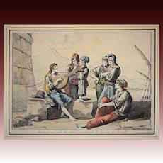 Early 1815 Antique Roman Engraving Marinari sul molo di Napoli ascoltando l'Istoria di Rinaldo / Naples Street Poets Bartolomeo Pinelli - c. 1815, Rome