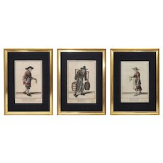 18th Century Cryes of London Copper Engravings Set of Three - 18th Century, London