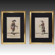 Pair pre 1750 Cryes of London Copper Engravings 4 and 11 Antique - 18th Century, England