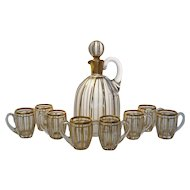 Baccarat Cannelures Liqueur Service Jug Decanter with 8 Matching Handled Glasses Gilt Crystal - c. 1916, France