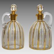 Pair Baccarat Liqueur Jug Decanters Gilt Crystal Cannelures Pattern Antique - c. 1916, France