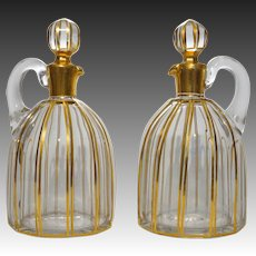Pair Baccarat Liqueur Jug Decanters Gilt Crystal Cannelures Pattern Antique - c. 1916, France