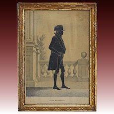 Americana John Marshall Silhouette Kellogg Lithograph Portrait Full Length Gilt Frame with Provenance - circa 1844's, USA