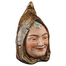 "Austrian Majolica 9"" Figural Hooded Monk Humidor Tobacco Jar 3605 8 Tobacciana Large"