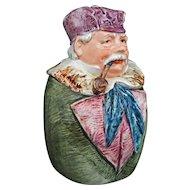 "Austrian Majolica 8"" Figural Man Smoking Pipe Humidor Tobacco Jar 7454 27 Tobacciana Large"