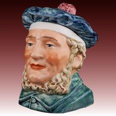 "Austrian Majolica 6"" Figural Man Scotsman Humidor Tobacco Jar 2547 20 Tobacciana Scottish Blue Bonnet"