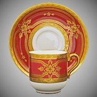 Minton for Tiffany Dark Red Porcelain Cabinet Cup & Saucer Gilt Enamel H4526- Post 1902, England