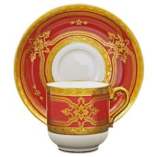 Minton for Tiffany & Co. Raised Gilt Cranberry Red Porcelain Cabinet Cup & Saucer H4526- Post 1902, England