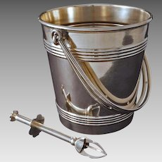 Christofle Art Deco Style Ice Bucket Barware Silverplate with French Mechanical Tongs Le Cralie - 20th Century, France