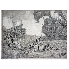 Early Dutch Etching Bakhuizen Amsterdam Riding in Neptune's Chariot - c. 18th Century, Netherlands
