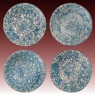 Set 4 Spongeware Bowls Blue White Marked Royal Cumberland Copenhagen - 20th Century, Denmark