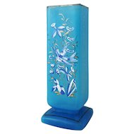 Antique Turquoise Glass Enamel Hummingbird Floral Square Vase Tall Large