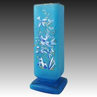 Antique Turquoise Glass Enamel Hummingbird Floral Square Vase Tall Large