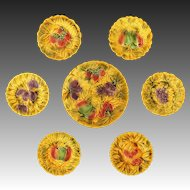 Set Sarreguemines Fruit Platter and Six Plates Golden Yellow - 1920-1950 mark, France