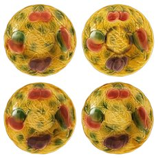 Set Sarreguemines Fruit Bowls Golden Yellow - 1920-1950 mark, France