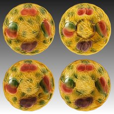 Set Sarreguemines Fruit Bowls Golden Yellow - 1920-1950 mark, France