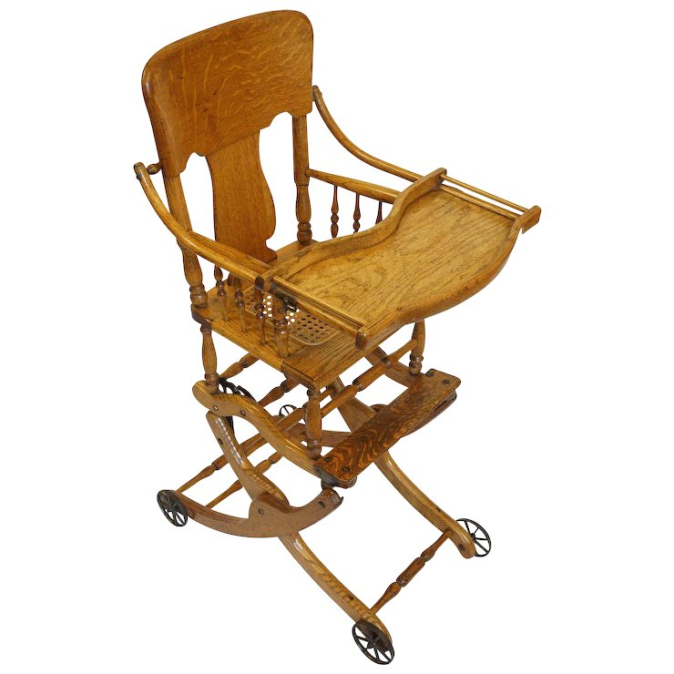 Antique Oak Convertible High Chair, Stroller, Rocker with Caned Seat and  Tray Table - Antique Oak Convertible High Chair, Stroller, Rocker With Caned Seat